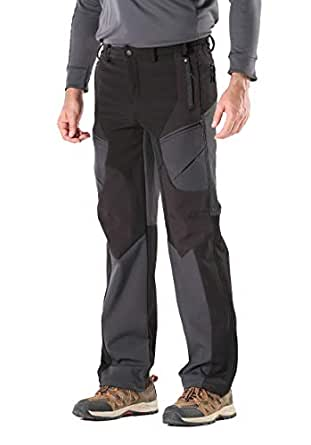 KORAMAN Men's Insulated Outdoor Windproof Hiking Pants Softshell Warm Fleece Mountain Ski Pants Black US S