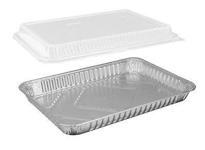 25 Sets of 1/4-Size (Quarter) Sheet Cake Aluminum Foil Pan with Clear Dome Lid – Extra Sturdy and Durable – Great for Bake Sales, Events and Transporting Food - 12-3/4'' x8-3/4'' x 1-1/4''