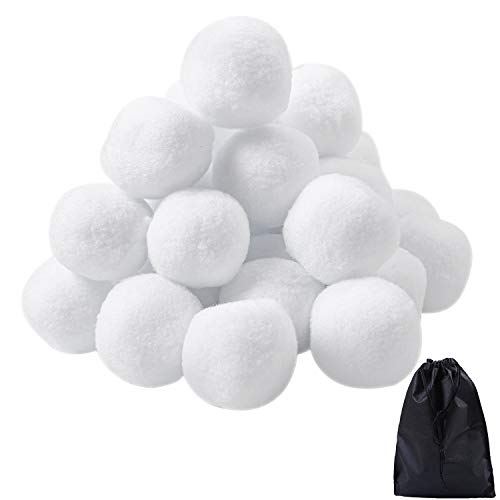 URATOT 20 Pack Indoor Snowball Fight Fake Snowball Soft and Realistic with Bags for Kids Adults Winter Games (20, 7cm) (Box Balls Fake)