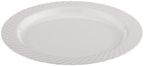 Opulence Heavyweight Plastic Plate, 7.5-Inch Diameter, White (240-Count) by WNA