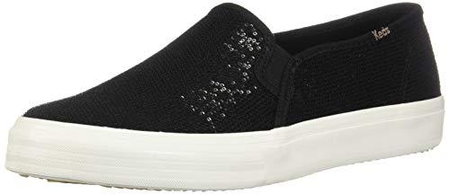 (Keds Women's Double Decker Mini Sequin Sneaker, Black, 7.5)