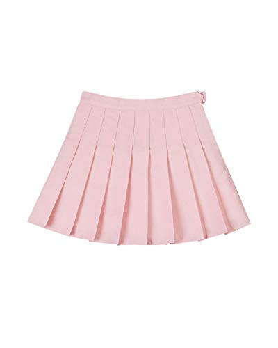 Liangzhu Femmes Jupes Plisse Couleur Unie Courte Taille Haute Style Collgial Jupe Pink