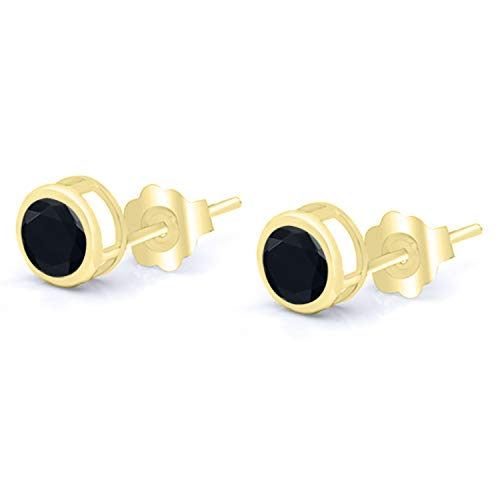Gem Stone King 0.92 Ct Round 5mm Black Onyx 14K Yellow Gold Stud Earrings
