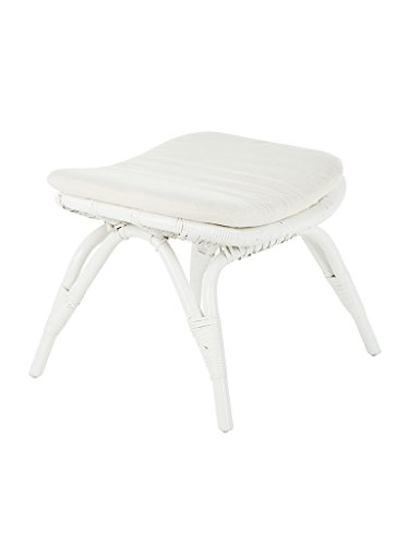 Kouboo Rattan Foot Stool, White (Manufacturers Furniture Contract Outdoor)