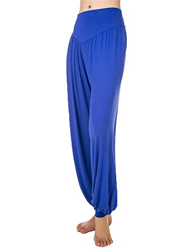 Womens Women's Woman Woman's Casual High Waisted Palazzo Long Harem Pant Pants Bottom Bottoms Slacks for Women Petite Ladies Blue L