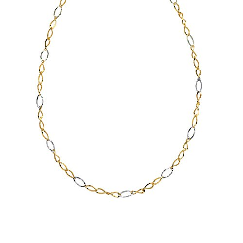 Gold Necklace, 14Kt Gold Tt Wavy Oval Loop/Diamond Cut Necklace