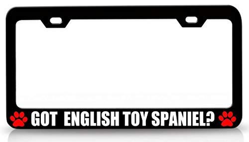 (Customola - GOT English Toy Spaniel Pet Steel Metal License Plate Frame Bl )