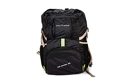 MTN STYLE Lightweight,Packable,Durable Backpack for Travel,Hiking,Carry on Foldable,35L Daypack, Water Resistant for Camping,Backpacking,Running