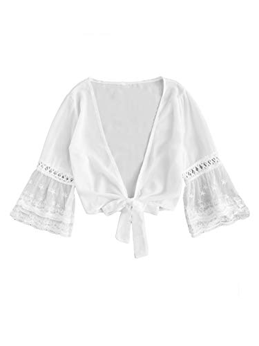 SweatyRocks Women's Sexy Chiffon Deep V Neck Tie Knot Front Blouse Crop Top White Medium ()