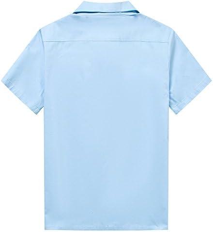 Anchor MSJ Herren 50er Jahre M/ännliche Kleidung Rockabilly Stil Baumwolle Herren Hemd Kurzarm Fifties Bowling Casual Button-Down-Shirts