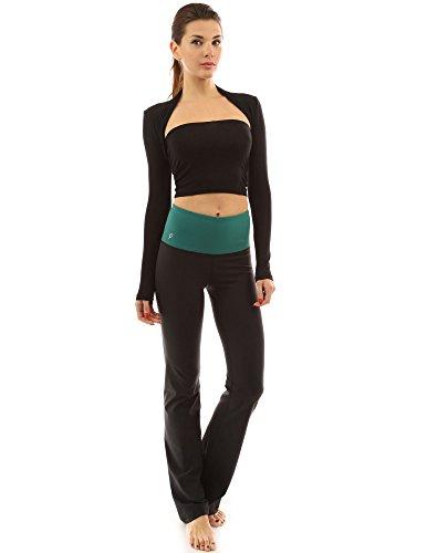 PattyBoutik Mujer la conformación de la serie bootcut pantalones de yoga verde y negro
