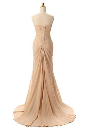 jydress encanto de las mujeres plisado gasa vestido largo Formal Prom Vestido azul real