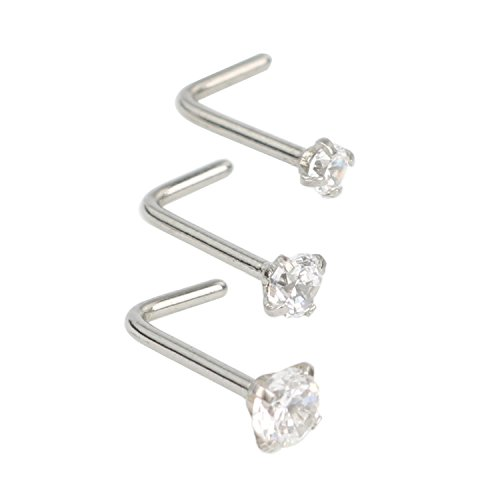 SkullParty 3 Pcs Stainless Steel Nose Rings Studs 20 Gauge L Shaped Curved Nose Piercing 2mm 2.5mm 3mm Diamond CZ Nose Stud L Bend for Women Girl Piercing - Steel (Diamond Stud Nose Rings)
