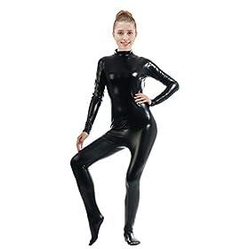 Ensnovo Womens Shiny Metallic Zentai Suit Wetlook Spandex Turtleneck Unitard Blacks