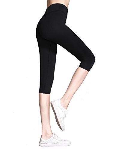 Everbellus Womens Workout Leggings High Waist Yoga Pants with Belt Pocket Black Large