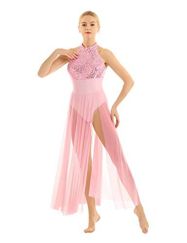 YiZYiF Women's Adult Sequins Ballet Contemporary Dance Dress Lyrical Leotard Costume Pink Medium]()