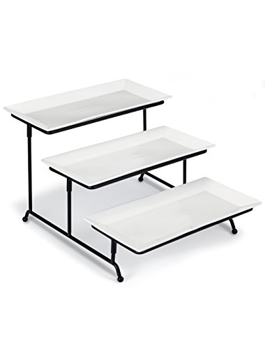 Klikel 3 Tiered Cake Stand - Metal Rack – 3 Rectangular White 12x6 Porcelain Plates, Microwave And Dishwasher Safe - Buffet, Wedding And Dinner Party Centerpiece - Dessert Serving Platter (Porcelain Dish Rectangular)