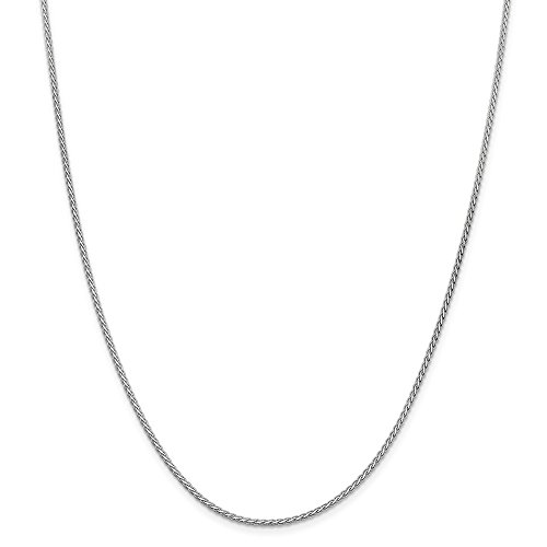 14kt White Gold 1.8mm Flat Wheat Chain; 20 inch