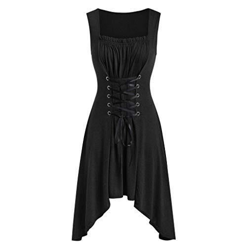 Mikilon Vintage Gothic Dress Sleeveless Lace Up Slime Asymmetrical Flare Midi Dress Halloween Costume Black]()