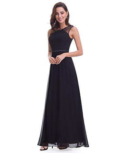de Las Negro 08742 Largo Mangas sin Vestido de Pretty Elegante Fiesta Ever Mujeres 64ZFqF