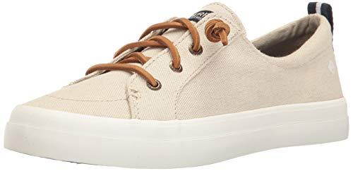 Sperry Women's Crest Vibe Linen Sneaker, Oat, 6 M US