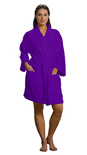 robesale Bamboo Cotton Kimono Spa Robes Women Mens Swimwear Bathrobes Cover up, Purple, S/M Size
