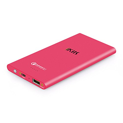 iKits Fast Charge 3.0 Ultra Slim Power Bank 5000mAh External Extended Battery Pack Input: 3.0, Output:2.0+Smart for iPhone/iPad, Samsung Galaxy Google Nexus & more Peach Red +Cable