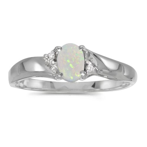 0.19 Carat (ctw) Sterling Silver Oval White Opal and Diamond Bypass Swirl Engagement Anniversary Fashion Ring (6 x 4 MM) - Size 6.5