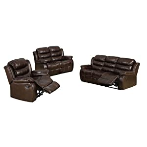 Furniture of America Chellemont 3-Piece Leather-Like Fabric Recliner Sofa Set, Dark Brown Finish