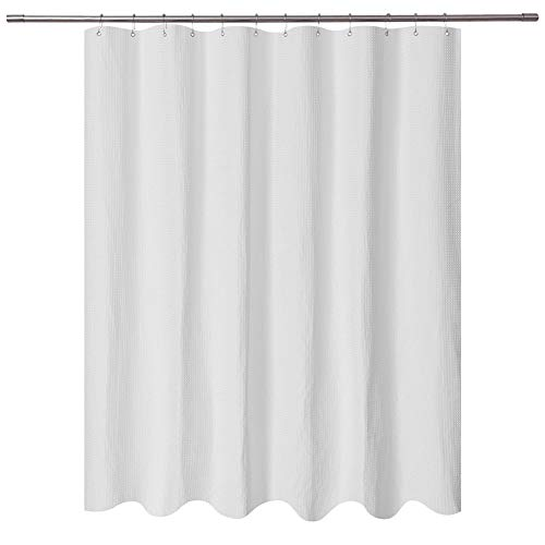 Short Shower Curtain with 66 inch Length Fabric, Waffle Weave, Hotel Collection, Water Repellent, Machine Washable, 230 GSM White Pique Pattern for Decorative Bathroom Curtain (Wide Short Curtains)