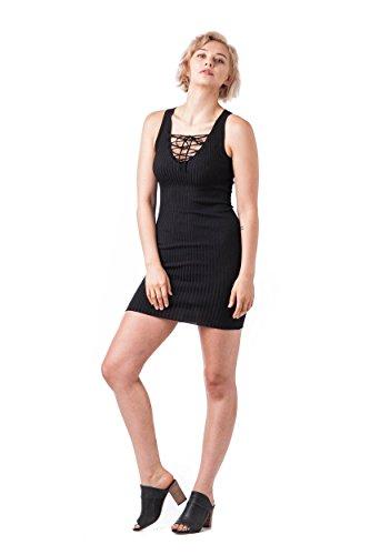 Knit Sleeveless Black Up Sweater Lace dress Bodycon Mini aOqF7Pw