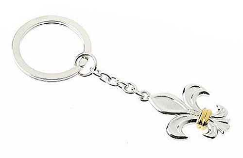 Sterling Silver Vermeil Fleur de Lis Key Ring. Made in England