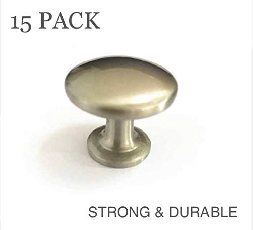 "(15 Pack) - GA512 Brushed Brass knobs for Cabinet and Furniture. Furniture Drawer Knob, Fashion Furniture knob, Traditional Furniture knob, Antique Furniture knob-1"" x 1 1/4"" (26mm x 29mm) Diameter"