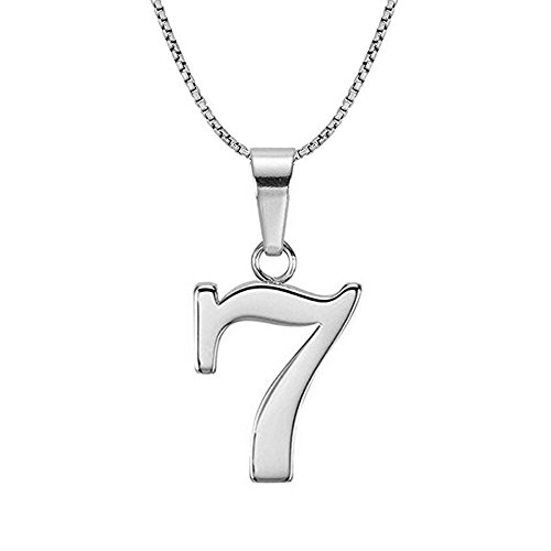 Number 7 Sterling Silver Charm - Lutilo 925 Sterling Silver Number 0-9 Charms Pendant Necklace with Chain (Seven)