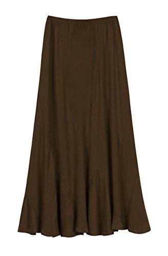 Urban CoCo Women's Vintage Elastic Waist A-Line Long Midi Skirt (XL, Cocoa Brown)
