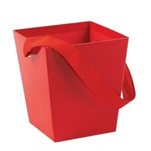Red Cardboard Bucket W/Ribbon Handle (6 Pcs) - Bulk [Toy]