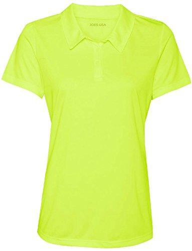 T-shirt Bright Yellow (Joe's USA Women's Dri-Equip Golf Polo Shirts 3-Button Golf Polo-XL-Bright Yellow)