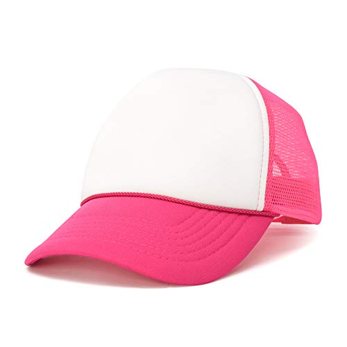 DALIX Trucker Cap Adjustable Snapback in Neon (Hot Pink and White)