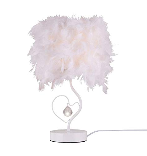 Surpars House Heart Shape White Feather Deco Table Lamp Crys