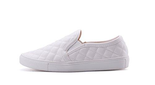Mila Lady (WANDA) Frauen Leinwand Heftige Quilt Muster Slip On Fashion Sneakers, Weiß