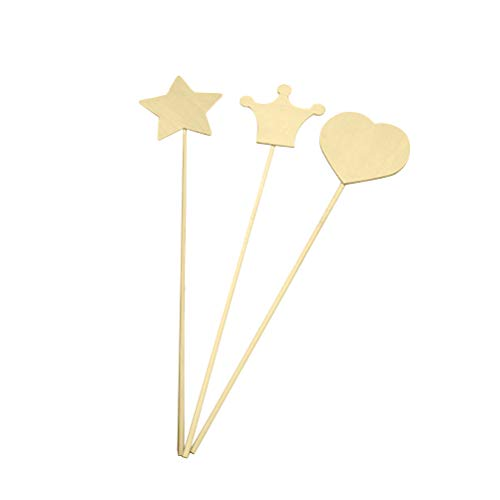 Toyvian Wood Craft Stick Magic Wand Handmade Toy Material DIY Craft Accessory for Kids 3pcs (Random Pattern)