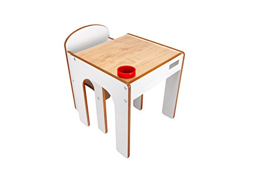 Little Helper FunStation Toddler Table and Chair Set (Natural & White)