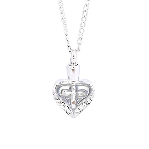 lightclub Heart Cross Rhinestone Memorial Urn Necklace Ashes Cremation Pendant Keepsake - White Elegant Necklace for Women