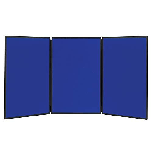 (Quartet Fabric Bulletin Board Display Panel System, 6' x 3', Double-sided, Blue/Gray Surface, Black Frame, Exhibition, Show-It! (SB93513Q))