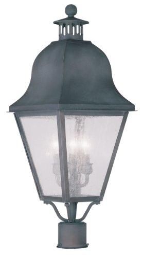 Livex Lighting 2556-61 Amwell 3-Light Outdoor Post Head, Charcoal