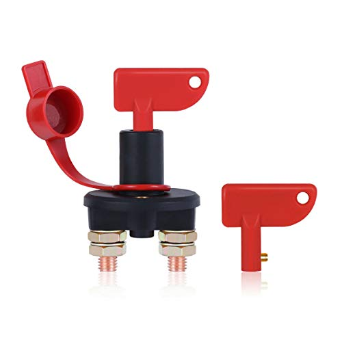Sunsbell Car battery disconnect isolator cut-off switch, car battery power kill switch for car marine ship: