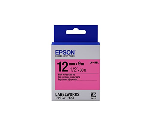 """Epson LabelWorks Standard LK (Replaces LC) Tape Cartridge ~1/2"""" Black on Pearlized Red (LK-4RBL) - For use with LabelWorks LW-300, LW-400, LW-600P and LW-700 label printers"""