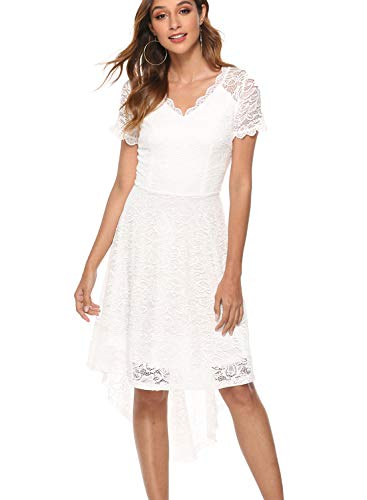 MODECRUSH Womens Ruffle Sleeve Formal Hi Low Floral Lace Cocktail Party Dresses XL White ()