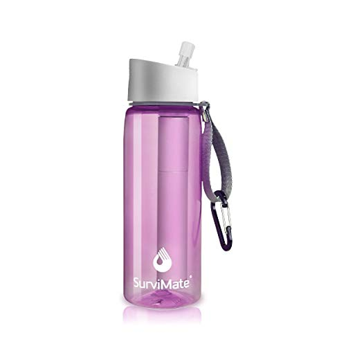 SurviMate Filtered Water Bottle for Camping, Hiking, Backpacking and Travel, BPA Free with 4-Stage Intergrated Filter Straw (Pink) (Best Water Bottle Brand In India)