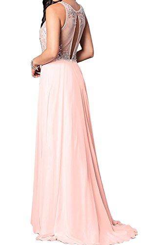 A La Marie Ballkleider Lang Damen Linie Festlichkleider Abendkleider Kleider Braut Ausschnitt U Perlen Jugendweihe Rosa pFpqPAx